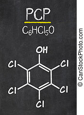 Blackboard with the chemical formula of PCP