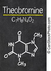 Blackboard with the chemical formula of Theobromine