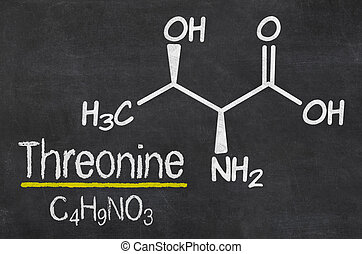 Blackboard with the chemical formula of Threonine