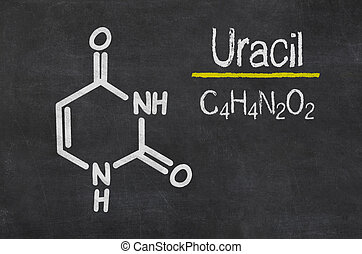 Blackboard with the chemical formula of Uracil