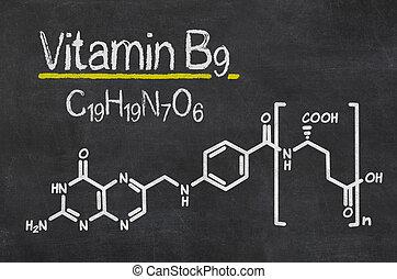 Blackboard with the chemical formula of Vitamin B9