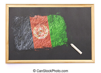 Blackboard with the national flag of Afghanistan drawn on.(series)