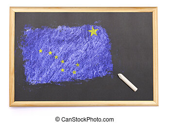 Blackboard with the national flag of Alaska drawn on.(series)