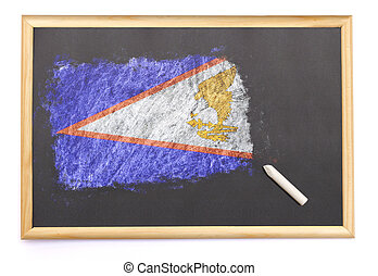 Blackboard with the national flag of American Samoa drawn on.(series)