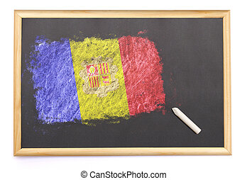 Blackboard with the national flag of Andorra drawn on.(series)
