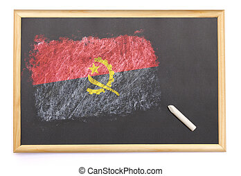 Blackboard with the national flag of Angola drawn on.(series)