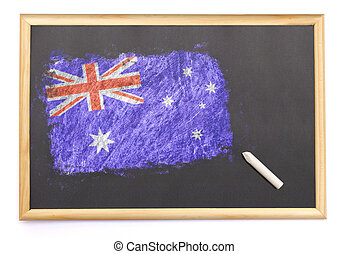 Blackboard with the national flag of Australia drawn on.(series)