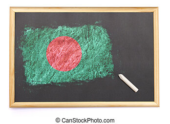 Blackboard with the national flag of Bangladesh drawn on.(series)