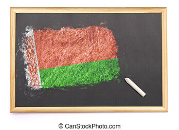 Blackboard with the national flag of Belarus drawn on.(series)