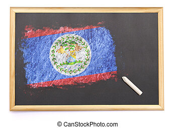 Blackboard with the national flag of Belize drawn on.(series)