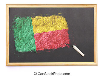 Blackboard with the national flag of Benin drawn on.(series)