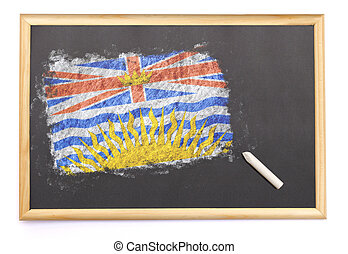 Blackboard with the national flag of British Columbia drawn on.(series)