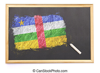 Blackboard with the national flag of Central African Republic drawn on.(series)