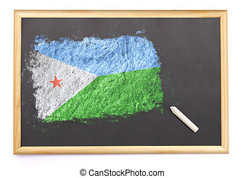 Blackboard with the national flag of Djibouti drawn on.(series)