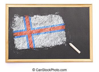 Blackboard with the national flag of Faroe Islands drawn on.(series)