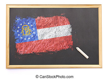 Blackboard with the national flag of Georgia drawn on.(series)