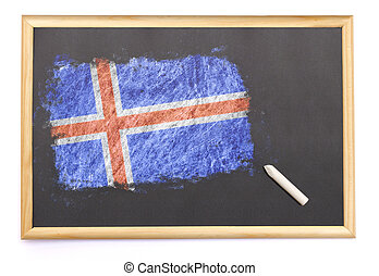 Blackboard with the national flag of Iceland drawn on.(series)