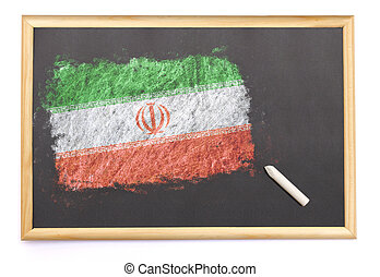 Blackboard with the national flag of Iran drawn on.(series)