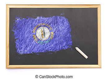 Blackboard with the national flag of Kentucky drawn on.(series)