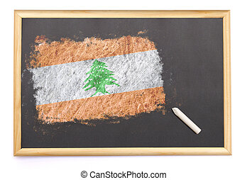 Blackboard with the national flag of Lebanon drawn on.(series)