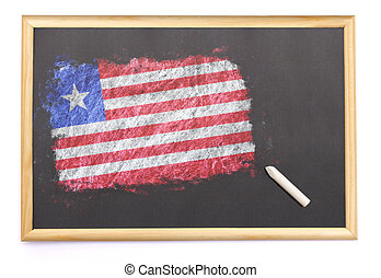 Blackboard with the national flag of Liberia drawn on.(series)