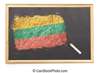 Blackboard with the national flag of Lithuania drawn on.(series)