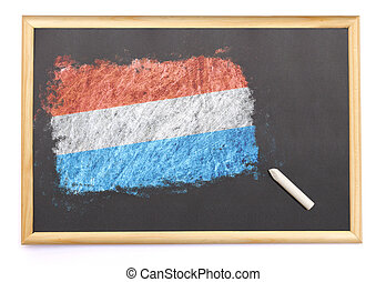 Blackboard with the national flag of Luxembourg drawn on.(...