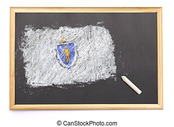 Blackboard with the national flag of Massachusetts drawn on.(series)