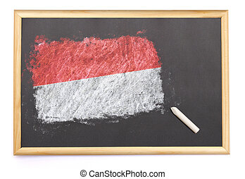 Blackboard with the national flag of Monaco drawn on.(series)