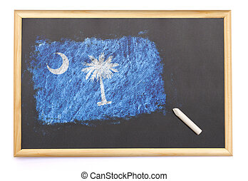Blackboard with the national flag of South Carolina drawn on.(series)