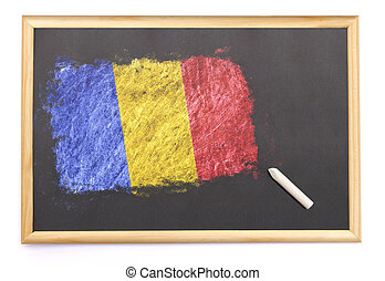 Blackboard with the national flag of Romania drawn on.(series)