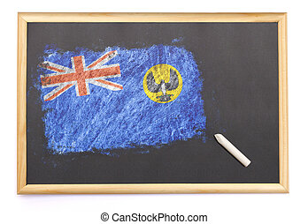 Blackboard with the national flag of South Australia drawn on.(series)