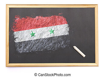 Blackboard with the national flag of Syria drawn on.(series)