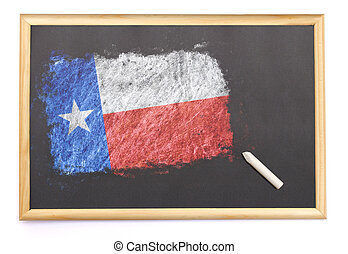 Blackboard with the national flag of Texas drawn on.(series)