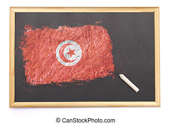 Blackboard with the national flag of Tunisia drawn on.(series)