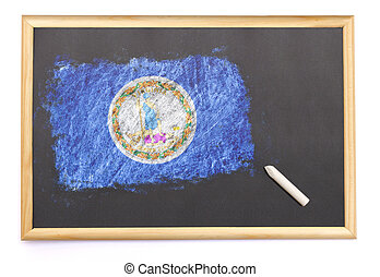 Blackboard with the national flag of Virginia drawn on.(series)