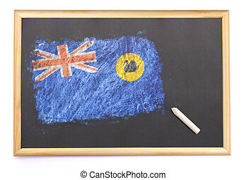 Blackboard with the national flag of Western Australia drawn on.(series)