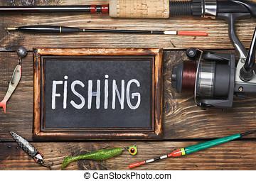 blackboard with the word fishing