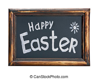 blackboard with the words happy easter