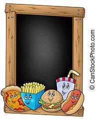Blackboard with various cartoon meals