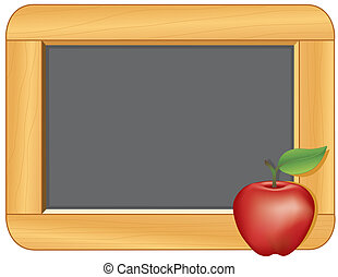 Blackboard with Wood Frame, Apple - Blackboard with wood...