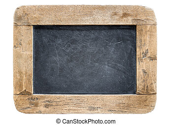 Blackboard with wooden frame, isolated on white background