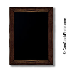 Blackboard with wooden frame on isolated white background