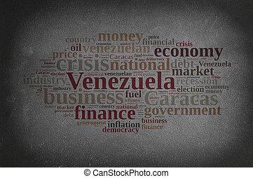 Blackboard with word cloud on Venezuela.