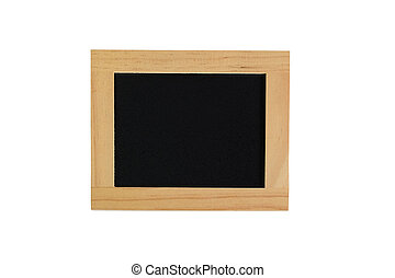 Blackboard wood frame on white background.
