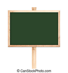 Blackboard wood label isolated on white background