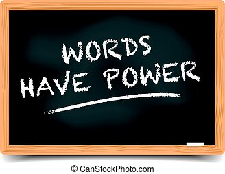 Blackboard Words Have Power - detailed illustration of a...