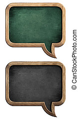 blackboards or chalkboards set in shape of speech bubble isolated on white with clipping path included