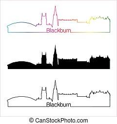 Blackburn skyline linear style with rainbow