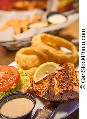 Blackened Fish Sandwich and Onion Rings - A blackene fish ...